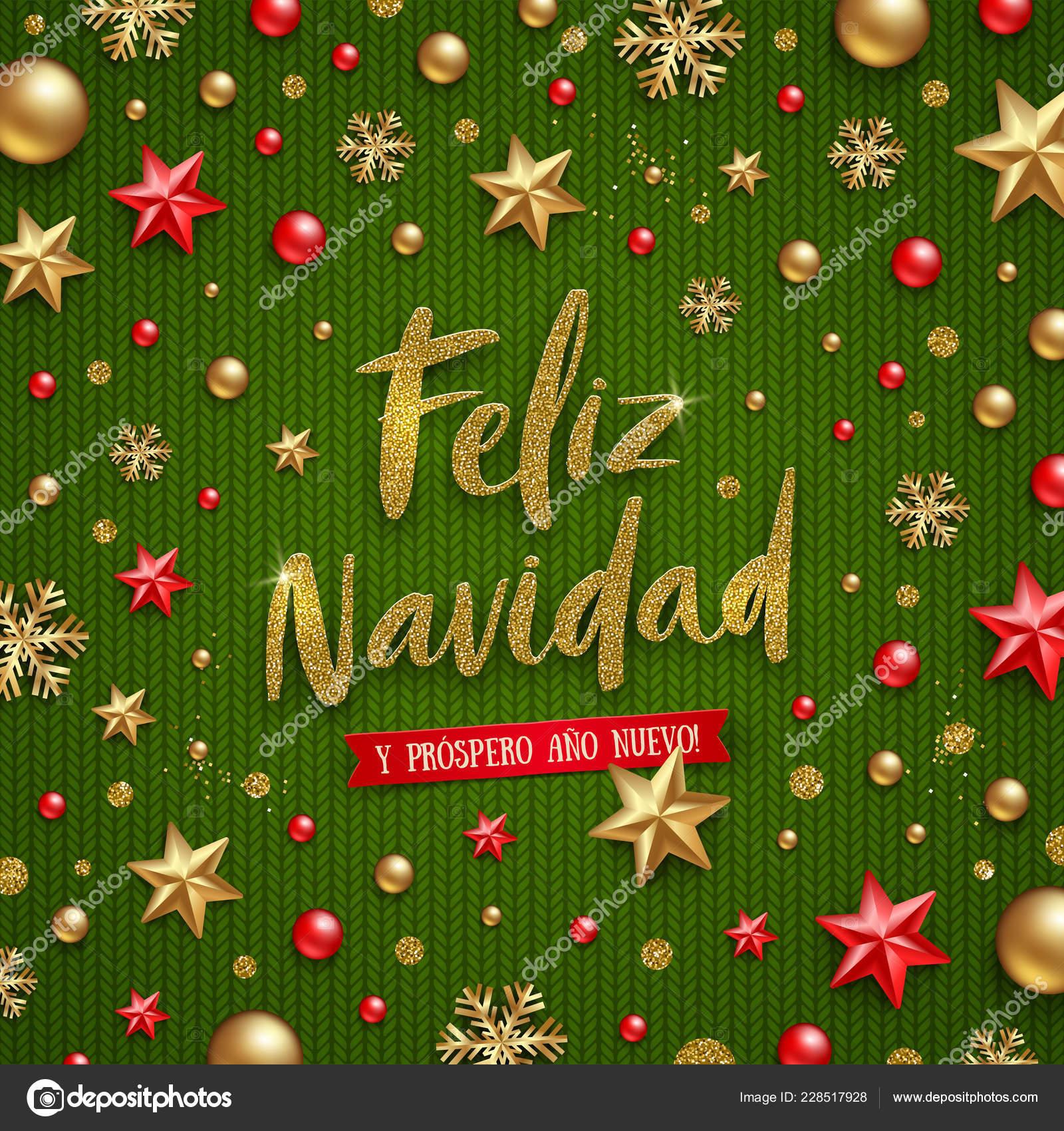 Christmas Wishes In Spanish.Feliz Navidad Christmas Greetings Spanish Glitter Gold