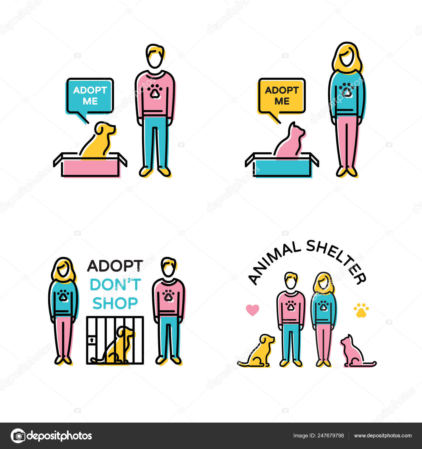Vector Pet Adoption Banner Illustration Set Stock Vector C Sokolfly 247679798
