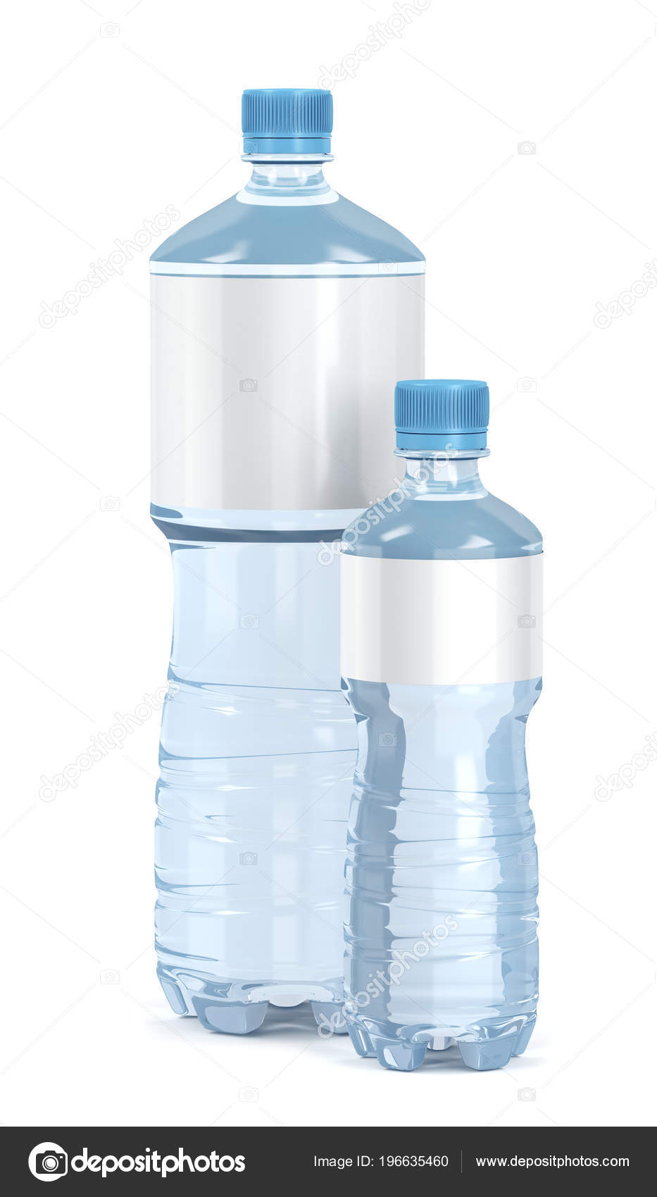 Small Big Water Bottles Blank Labels White Background