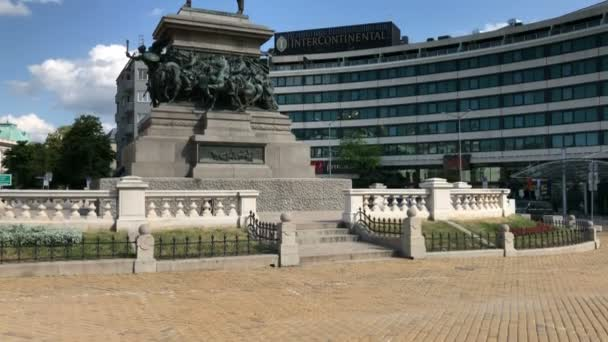 SOFIA, BULGARIA - MAY 28, 2018: The Monument to the Tsar Liberator (Russian Emperor Alexander II who liberated Bulgaria from Ottoman rule during the Russo-Turkish War) in front of the InterContinental Hotel in Sofia, Bulgaria