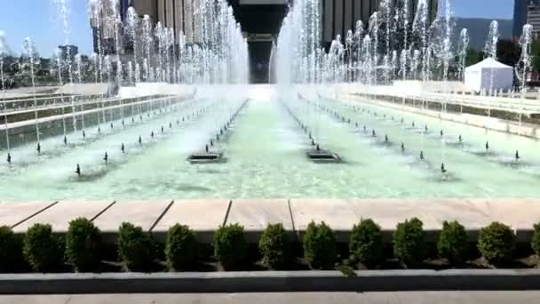 SOFIA, BULGARIA - MAY 29, 2018: Fountains in front of the National Palace of Culture (NDK) building, the largest multifunctional conference and exhibition centre in south-eastern Europe located in Sofia, Bulgaria