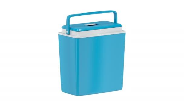 Kék hűtési doboz forog a fehér háttér