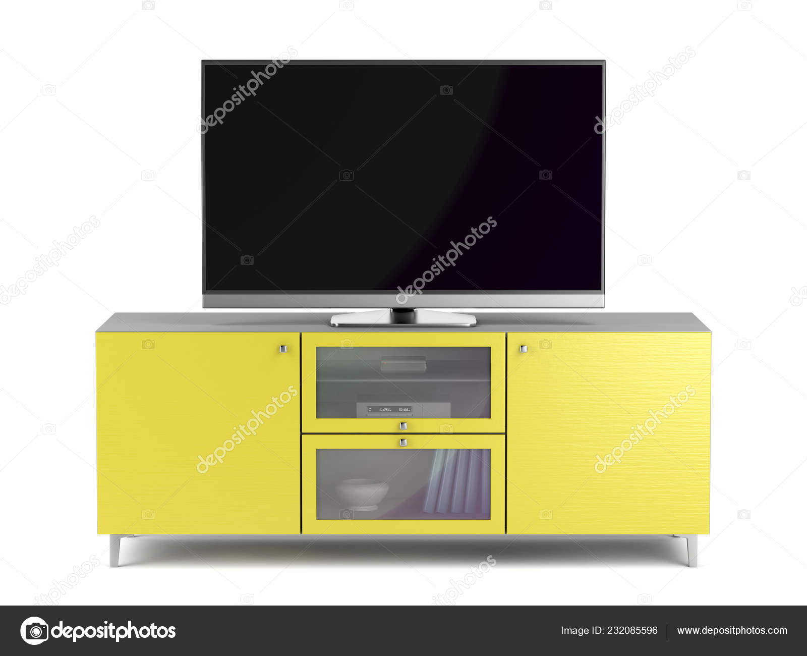 Tv Kast Blank.Blank Screen Modern Yellow Cabinet Stock Photo C Magraphics