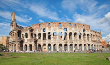 Ruins of famous Colosseum in Rome, Italy