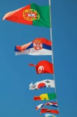 Fotografie Collection of the football nations flags in the blue sky