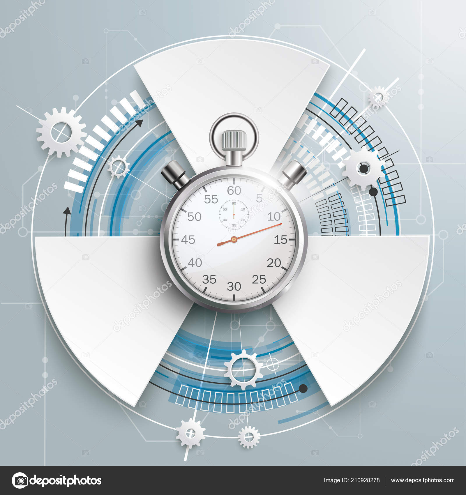 Futuristic Gear Wheel Options Stopwatch Electronic Schematic Gray Stock Photos Background Vector