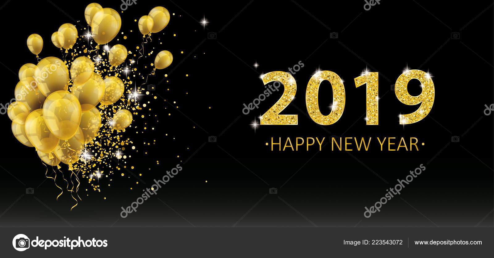 golden balloons golden particles black background new year 2019 eps stock vector