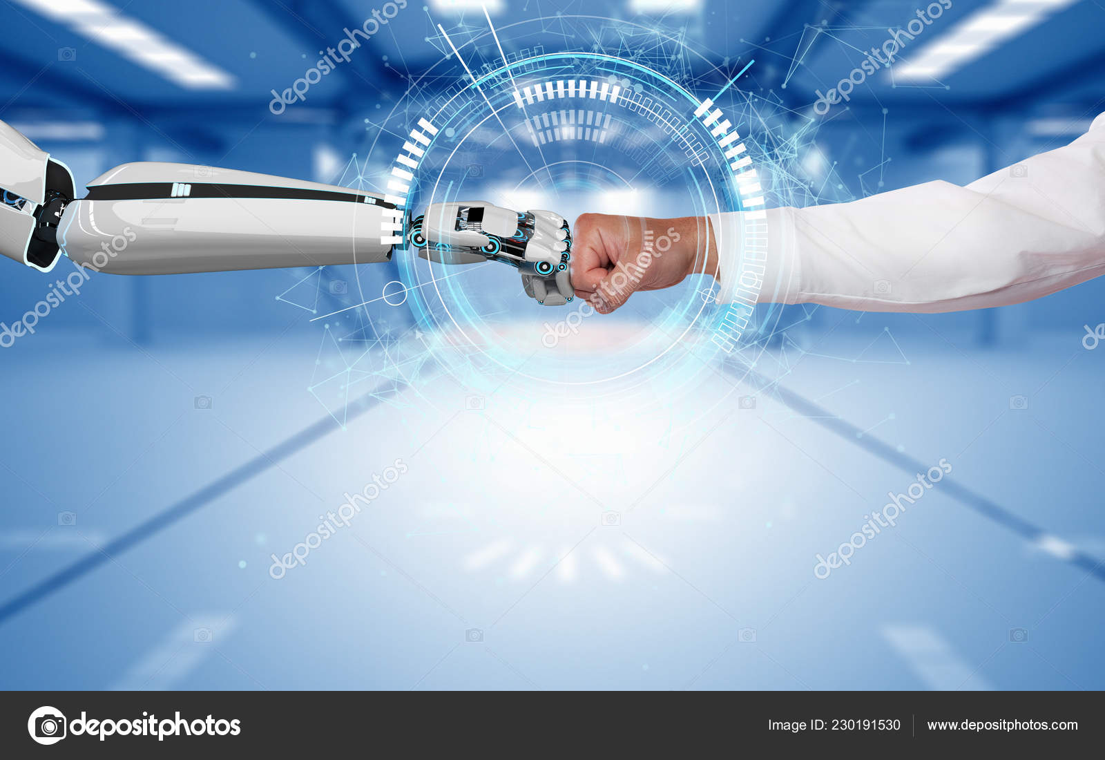 Robot Hand Human Hand Touch Each Other Hud Display