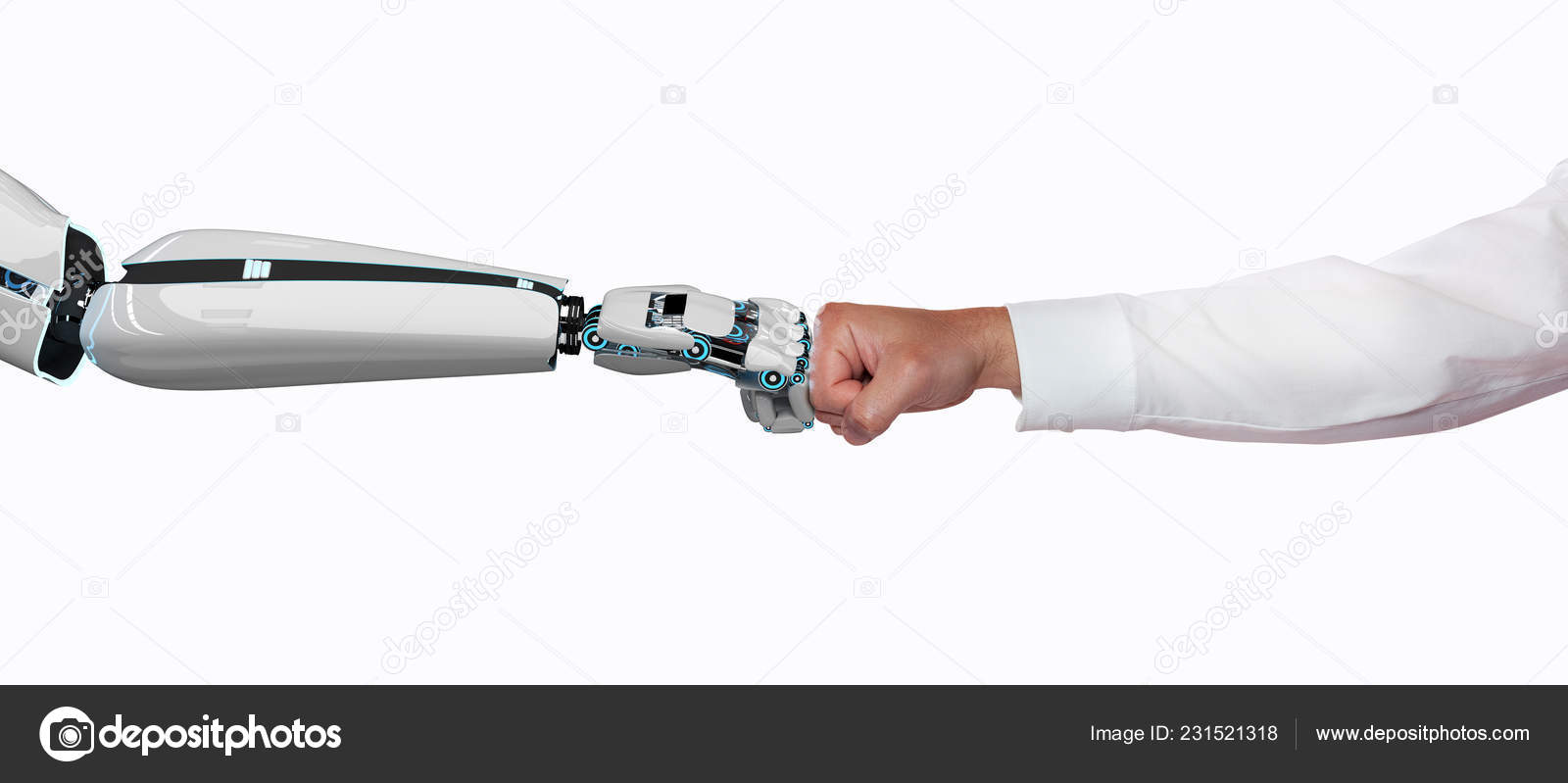 Robot Hand Human Hand Touch Each Other Fists Illustration