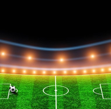 Green soccer field with lights
