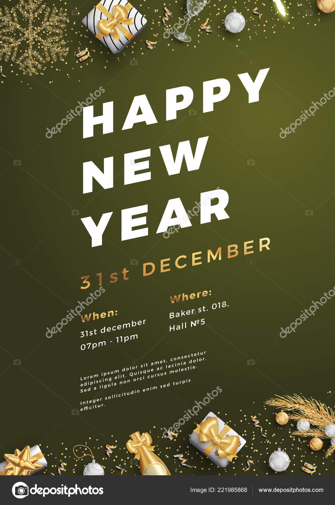 happy new year party layout poster poster or flyer template stock