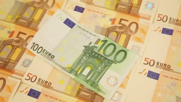 Panning around fifty and one sto euro banknotes