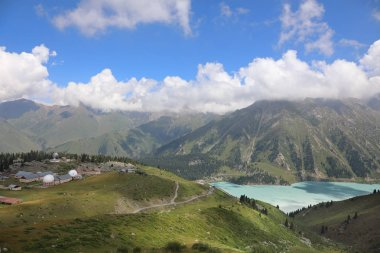 Natural landscape with views of Big Almaty lake and Tien Shan astronomical Observatory, 30 kilometers south of the city of Almaty in Kazakhsta