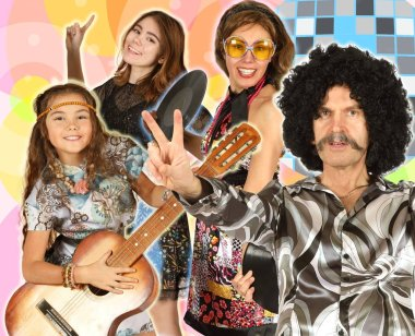 Collage of family dressed in disco style with guitar on colored backgroun