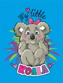 Fotografie Cute cartoon Koala with a bow sitting cross-legged on the inscription Koala on a blue background.