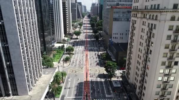 Letecký pohled na Avenida Paulista (Paulista Avenue) ve městě Sao Paulo, Brazílie.