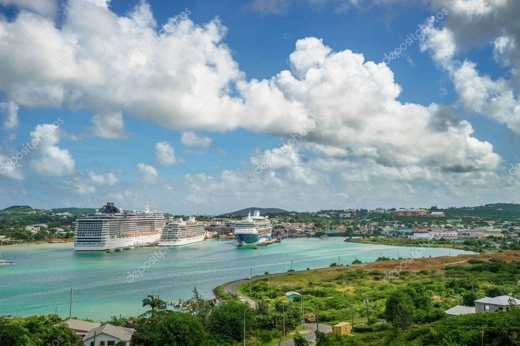 ST.JOHN'S ANTIGUA AND BARBUDA with Cruise ships in port.