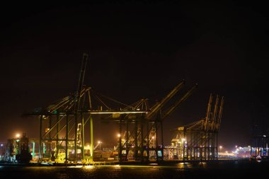 Container terminal in the port with huge cranes. Panama, Colon