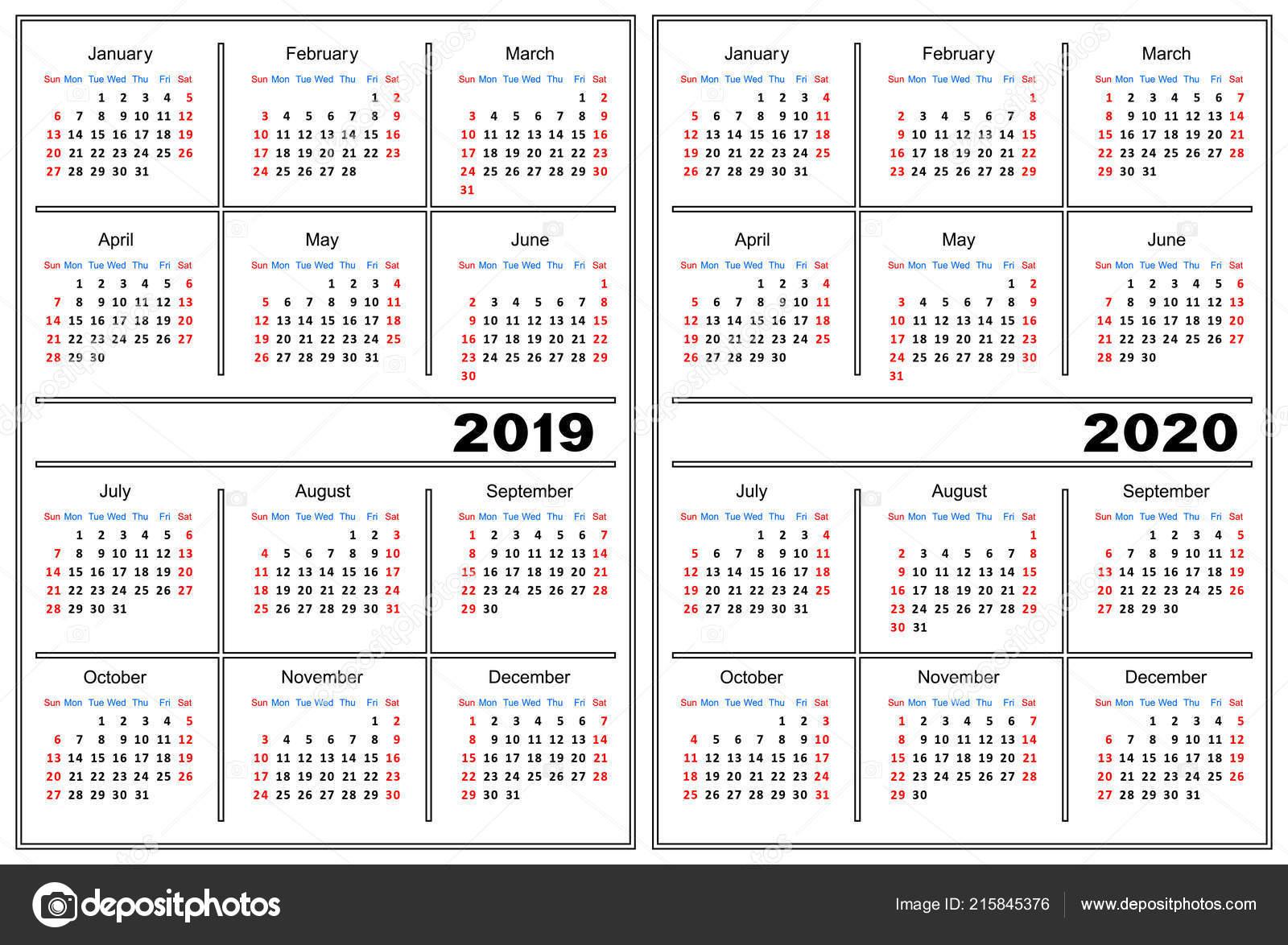 Modele Calendrier Couleur Blanche Calendrier Pour 2019 2020 Image Vectorielle Silantiy C 215845376