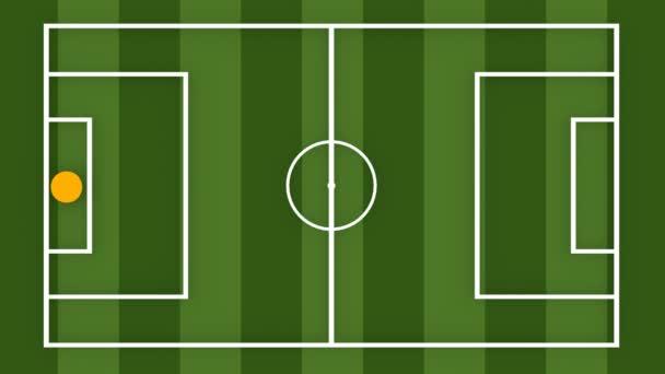 Fotbal nebo fotbal hry strategický plán. Rovné pruhované zelené pole. Sportovní info grafika animace