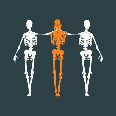 Human skeleton standing and hugging. Halloween party design template. Friends embrace clip art vector