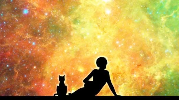 Siluety ženy a kočka