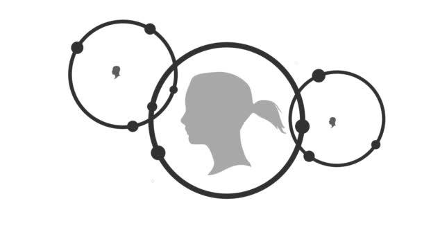Sociální mediální sítě. Růst na pozadí s kruhy a integrovat ikony. Připojené symboly pro digitální, interaktivní a globální komunikaci. Pomaturitní studium koncepce animace