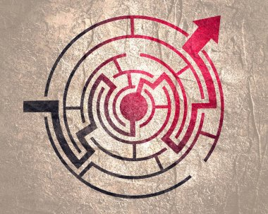 Red path across maze