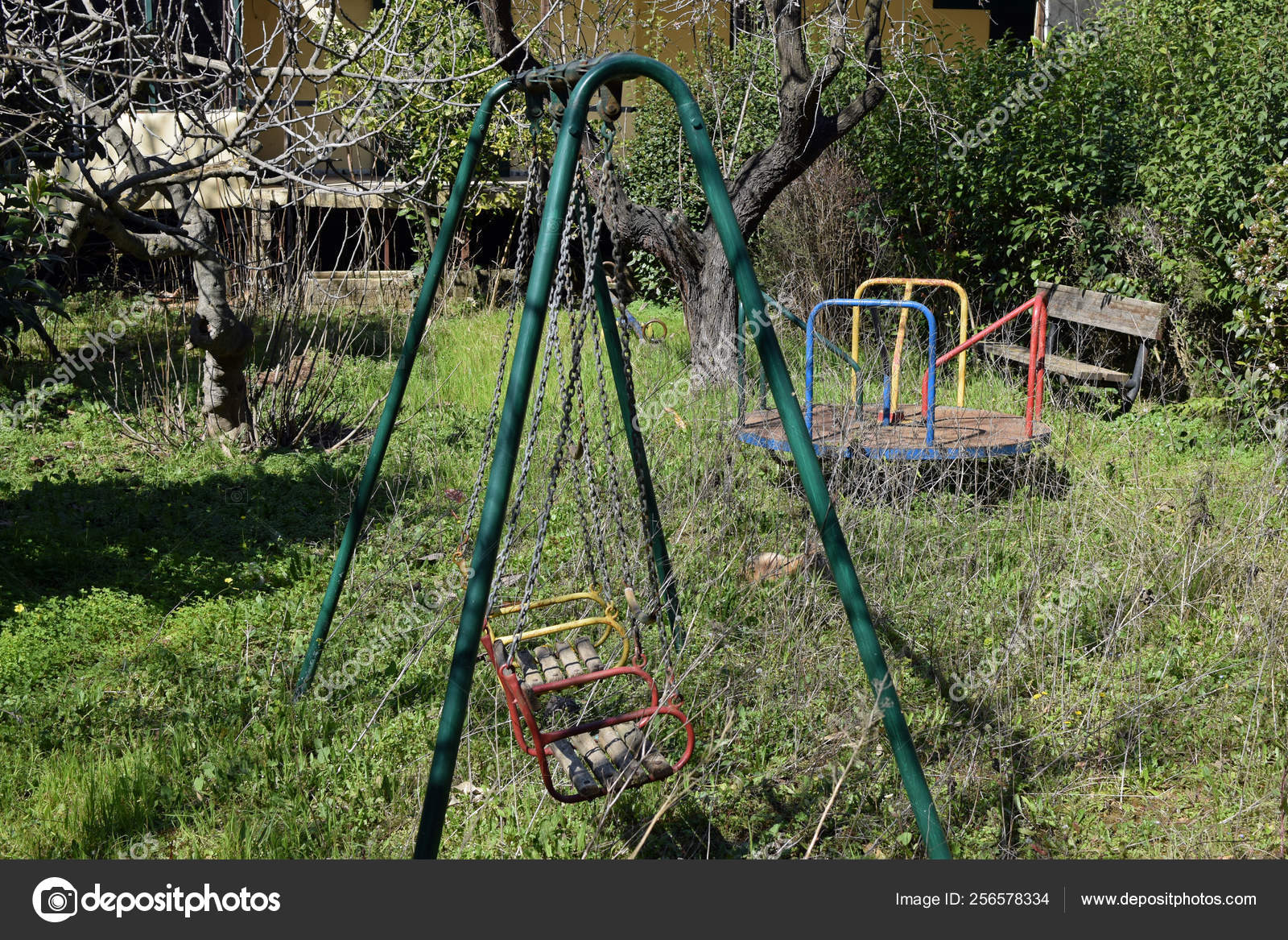 Old Playground Merry Go Round Abandoned Playground Old Swings And Merry Go Round Stock Photo C Sirylok 256578334