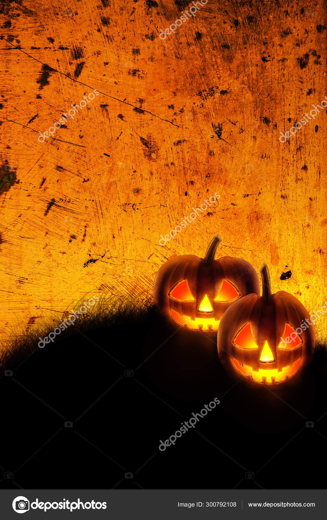 Halloween Background Wallpaper With Jack O Lantern Scary Pumpkin Stock Photo Image By C Hitdelight 300792108