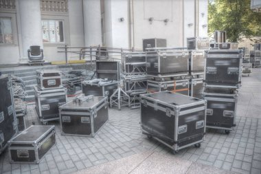 Preparing the stage for a concert in the open air.