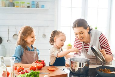 Healthy food at home. Happy family in the kitchen. Mother and child daughter are preparing proper meal. stock vector