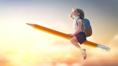 Back to school! Happy cute industrious child flying on the pencil on background of sunset sky. Concept of education and reading. The development of the imagination. stock vector