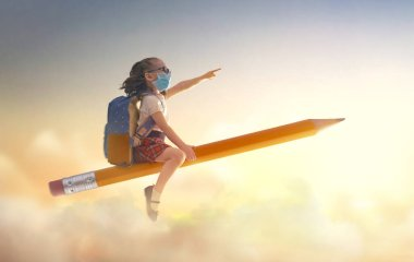 Back to school after quarantine! Happy cute industrious child with face mask flying on the pencil on background of sunset sky. Concept of education after pandemic. The development of the imagination. stock vector