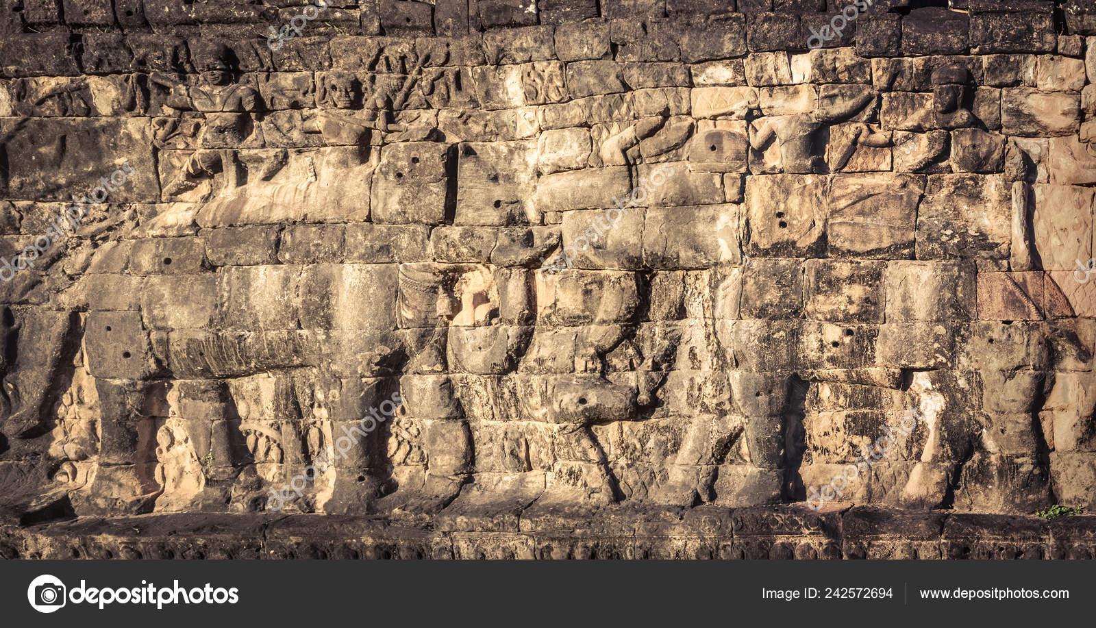 Bajo Relieve Terraza Los Elefantes Complejo Del Templo