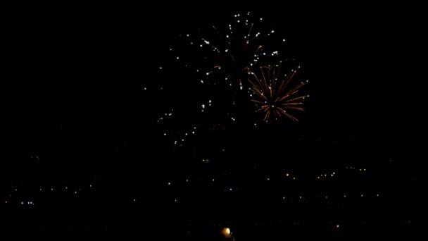 Blikající Noční prázdninové obloze ohňostroje