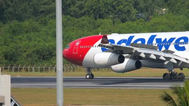 Airplane taxiing after landing