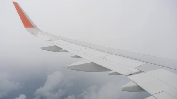 Křídla letadla na obloze a cloud na stěhování