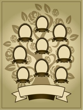 Vector illustration of family tree. Genealogy template.