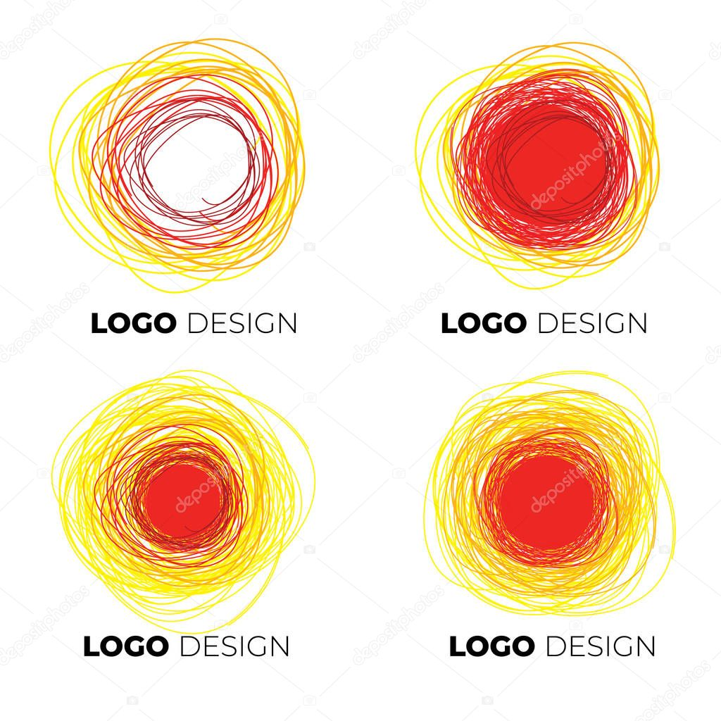Set of vector freehand abstract logotypes - sun