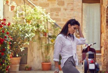 Woman in tuscany. Italian holiday