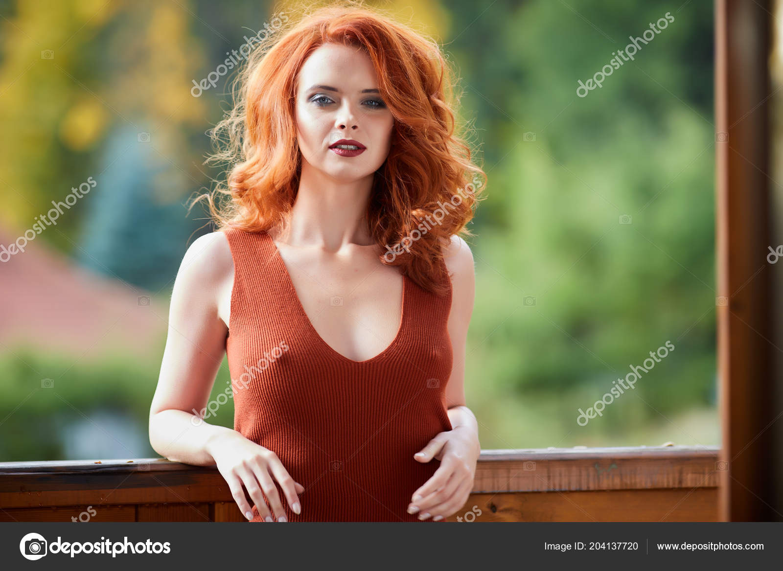 Beauty Romantic Girl Outdoors Enjoying Nature Beautiful Autumn Red Hair Stock Photo C Zoomteam 204137720