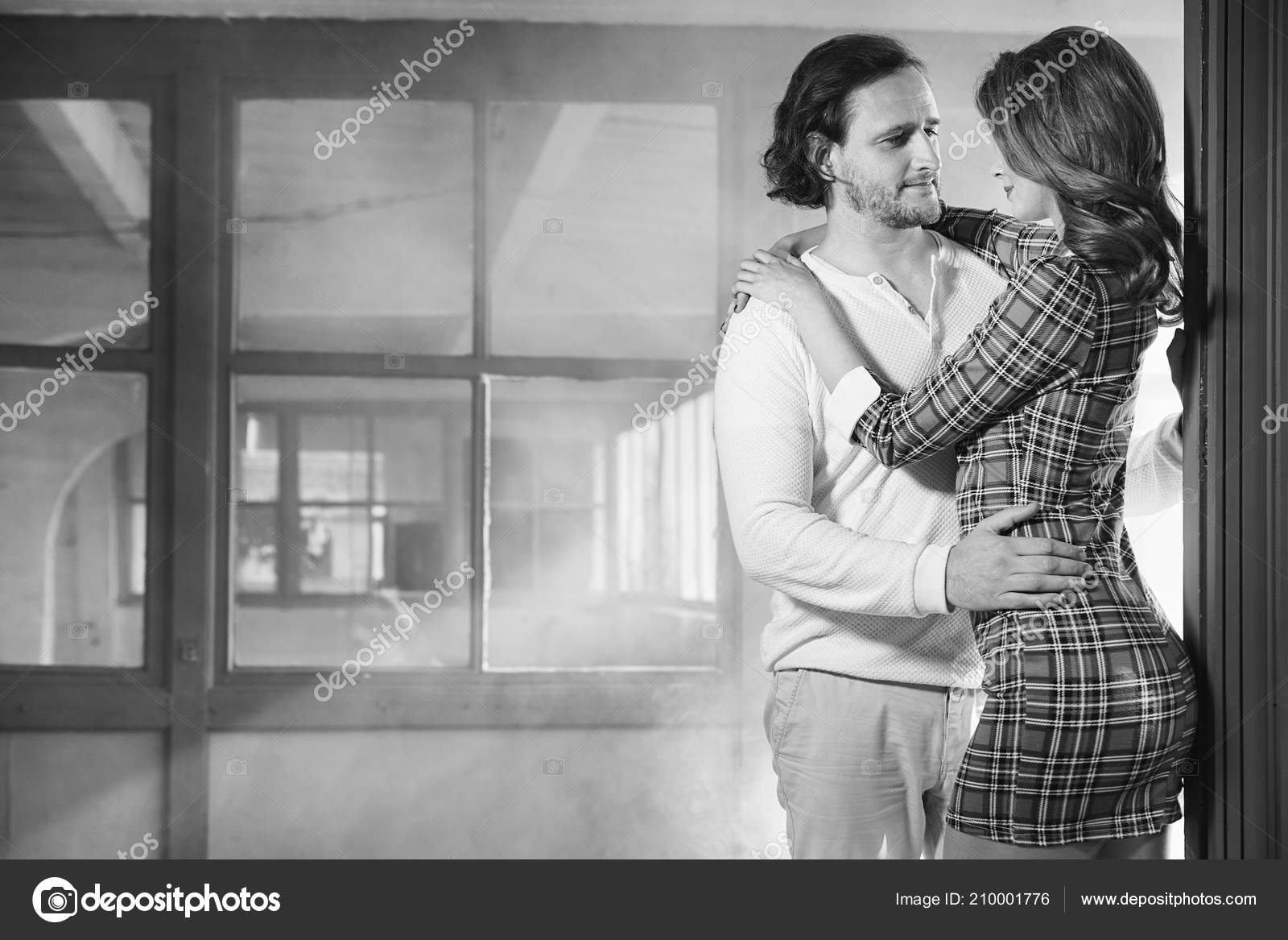 Passionate Couple Foreplay Night Black White Stock Photo