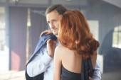 A romantic film scene of a couple in love