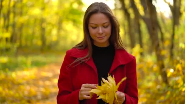 Beautiful girl walks in the autumn forest and enjoys good weather.