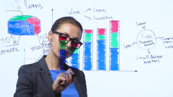 Businesswoman draws various growth charts, calculating prospects for success in a modern glass office