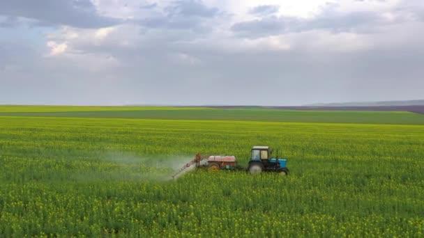Letecký pohled na traktor zachází se zemědělskými rostlinami na poli