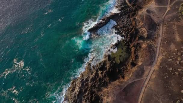 Top view of the coast of the Atlantic Ocean and the reserve on the island of Tenenife, Canary Islands, Spain