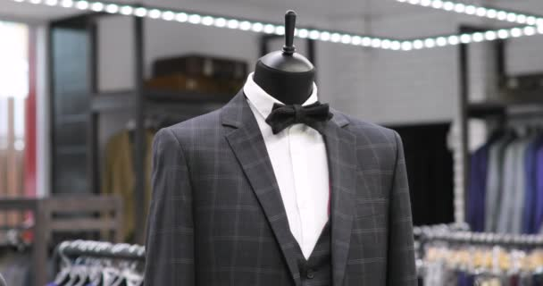 Stylish mens suit. Mens jacket on a mannequin. Mens Clothing. Clothing store. Shopping in boutiques.