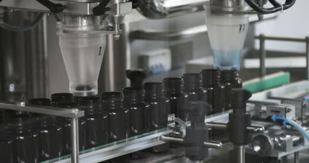 Process of production of pills, tablets. Industrial pharmaceutical concept. Factory equipment and machine. 4K